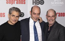 Michael Imperioli, John Ventimiglia, y Matthew Weiner en la reunión de los sopranos fotografía de archivo libre de regalías