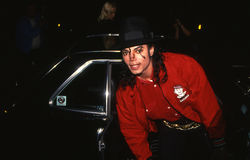 Michael Jackson arriving at a celebrity event Stock Image