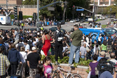 Michael Jackson Fans. A large crowd of fans and press gather in remembrance of Michael Jackson in front of the UCLA Medical Center shortly after he passed away Stock Image