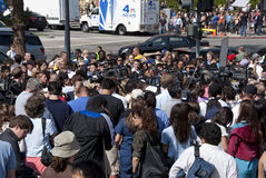 Michael Jackson Fans in Remembrance. Many fans of Michael Jackson gather in front of the UCLA Medical Center in his remembrance Stock Photos