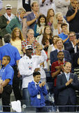 Michael Jordan attends first round match between Roger Federer of Switzerland and Marinko Matosevic of Australia at US Open 2014 Stock Photos