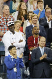 Michael Jordan attends first round match between Roger Federer of Switzerland and Marinko Matosevic of Australia at US Open 2014 Royalty Free Stock Photography