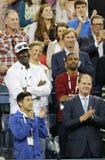 Michael Jordan besucht Erstrundespiel zwischen Roger Federer von der Schweiz und Marinko Matosevic von Australien an US Open 2014 Lizenzfreie Stockfotografie