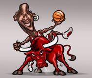Michael Jordan karikatyr royaltyfri illustrationer