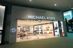 Michael kors shoppar i Kuala Lumpur International Airport Arkivbild