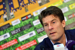 Michael Laudrup in Petrolul Ploiesti-Swansea FC. Swansea's coach Michael Laudrup pictured during the press conference held at the and of the Europa League play Stock Photography