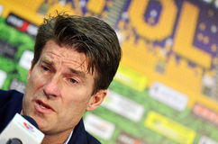 Michael Laudrup in Petrolul Ploiesti-Swansea FC. Swansea's coach Michael Laudrup pictured during the press conference held at the and of the Europa League play Royalty Free Stock Photos
