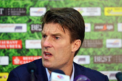 Michael Laudrup in Petrolul Ploiesti-Swansea FC. Swansea's coach Michael Laudrup pictured during the press conference held at the and of the Europa League play Stock Photo