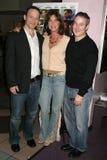 Michael Leydon Campbell met Terri Mann en Eddie Jemison bij de Première van Los Angeles van de ?Lafbek van het Loodje?. De Zonsond royalty-vrije stock afbeelding