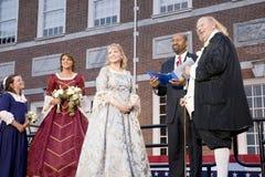Michael Nutter que casa Ben Franklin y a Betsy Ross Fotos de archivo libres de regalías