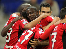 Michael Pereira of Mallorca. Celebrates goal with others players during the match between Espanyol and Real  Mallorca at the Estadi Cornella on March 1, 2010 in Stock Image