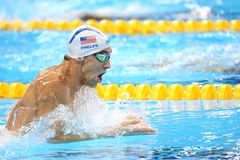 Michael Phelps at the Olympics in Rio, Brazil. Michael Phelps in action during the 400 meter individual medley at the Olympics Games,in Rio, 10 august 2016 royalty free stock image