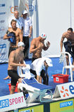 Michael Phelps, Alain Bernard, le FED ouvert 2010 Images stock