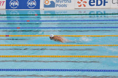 Michael Phelps, definitieve 200m vlinder Royalty-vrije Stock Foto's
