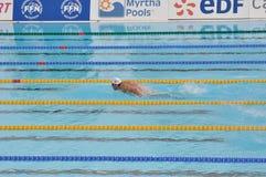 Michael Phelps, mariposa del final los 200m Fotos de archivo libres de regalías