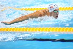 Michael Phelps at the Olympics in Rio, Brazil. Michael Phelps in action during the 400 meter individual medley at the Olympics Games,in Rio, 10 august 2016 royalty free stock photos