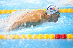 Michael Phelps at the Olympics in Rio, Brazil. Michael Phelps in action during the 400 meter individual medley at the Olympics Games,in Rio, 10 august 2016 royalty free stock photography