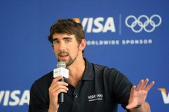 Michael Phelps. Rio de Janeiro, January 24, 2010. Olympic swimmer Michael Phelps, during a press conference after having visited the Olympic village of the stock photos