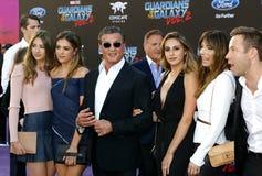 Michael Rosenbaum, Sylvester Stallone, Scarlet Rose Stallone, Sistine Rose Stallone, Sophia Rose Stallone, Jennifer Flavin and Fra Royalty Free Stock Photo
