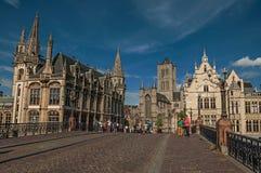 Michael ` s most, kościół i gotyków budynki w Ghent, Zdjęcia Stock