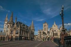 Michael ` s most, kościół i gotyków budynki w Ghent, Zdjęcia Royalty Free