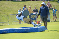 Michael Sam During Rams Practice Arkivbilder