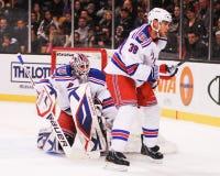 Michael Sauer and Henrik Lundqvist, New York Rangers Stock Photo