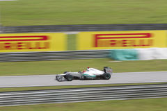 Michael Schumacher écrit l'entrée de pitlane Images libres de droits