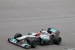 Michael Schumacher auf einer großen Geschwindigkeit gerade Lizenzfreies Stockfoto