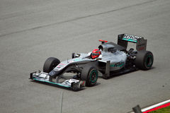 Michael Schumacher bij Maleise formule 1 ras Stock Foto