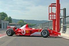 Michael Schumacher F1 in pitlane stock afbeelding