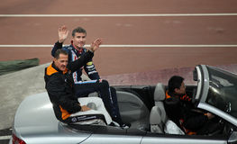 Michael Schumacher (GER) und David Coulthard (GB) Stockbilder