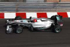 Michael Schumacher Monaco 2010. Michael Schumacher breaking for the Nuvele Chicane Monaco 2010 with Mercedes team Royalty Free Stock Photography