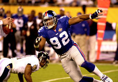 Michael Strahan, Super Bowl XXXV. New York Giants DL Michael Strahan, #92.  (Image taken from color slide Stock Photos