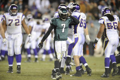 Michael Vick. Eagles quarterback Michael Vick walks off the field during a game against the Minnesota Vikings Royalty Free Stock Image