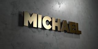 Michael - złoto znak wspinający się na glansowanej marmur ścianie - 3D odpłacająca się królewskości bezpłatna akcyjna ilustracja Obraz Royalty Free