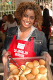 Michaela Pereira. At the Thanksgiving Meal for the Homeless at the Los Angeles Mission, Los Angeles, CA. 11-24-04 Royalty Free Stock Images