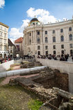 Michaelerplatz in Vienna with Roman and medieval remains stock images