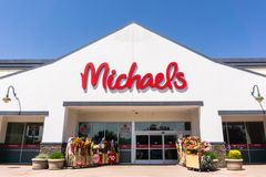 Michaels` store entrance stock image