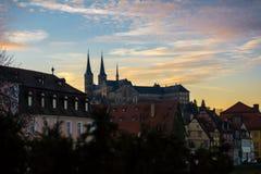 Michaelsberg abbey. Sunset viewed from Am Kranen Stock Photos
