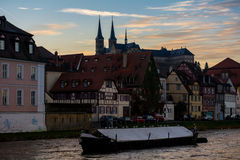 Michaelsberg Bamberg solnedgång Arkivbild