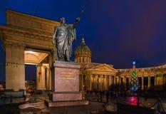 Michail Kutuzov statue 1837 and  Kazan cathedral Stock Photo