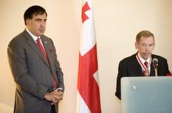 Michail Saakasvili en Václav Havel Stock Afbeeldingen