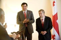 Michail Saakasvili en Václav Havel Royalty-vrije Stock Afbeeldingen