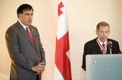Michail Saakasvili and Václav Havel Stock Images