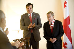 Michail Saakasvili and Václav Havel Royalty Free Stock Images