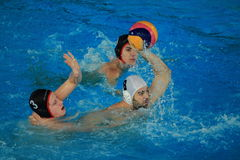 Michal Berec shooting in water polo Royalty Free Stock Images