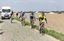 Michal Kolar - Paris Roubaix 2014. Carrefour de l'Arbre,France-April 13,2014:The Slovak cyclist Michal Kolar from Tinkoff-Saxo Team riding on the famous Royalty Free Stock Photos
