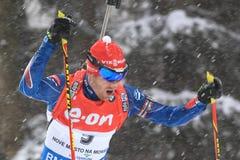 Michal Slesingr - världscup i biathlon Arkivfoton
