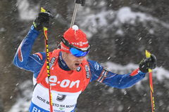 Michal Slesingr - wereldbeker in biathlon Stock Foto's
